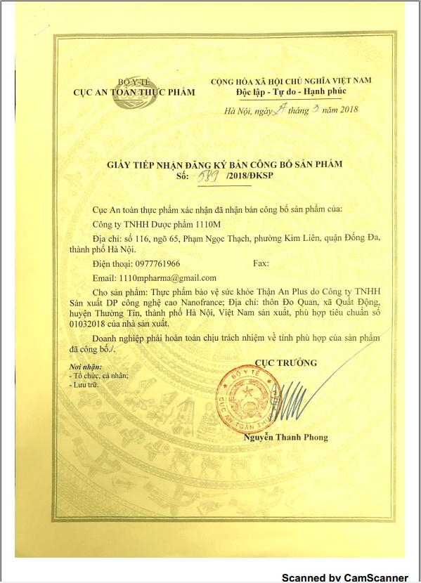 TPBVSK Thận An Plus được Bộ y tế cấp phép lưu hành toàn quốc